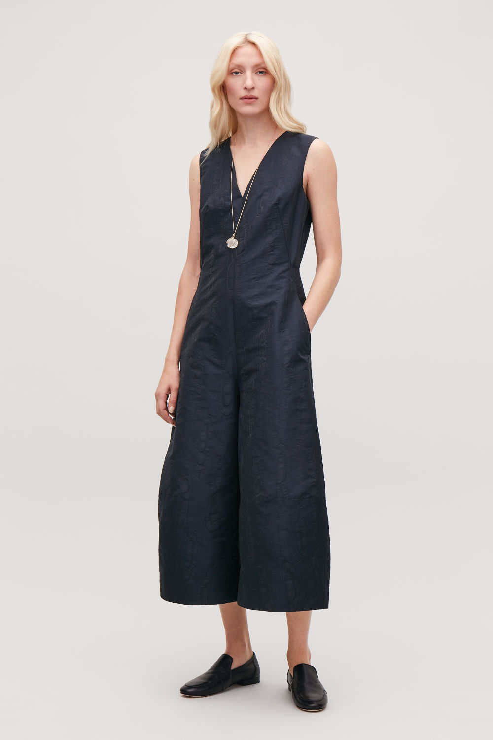 MOIRE V-NECK JUMPSUIT