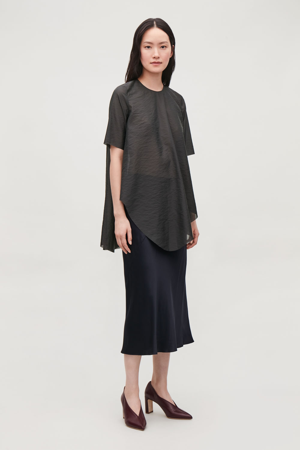 ASYMMETRIC SHEER A-LINE TOP