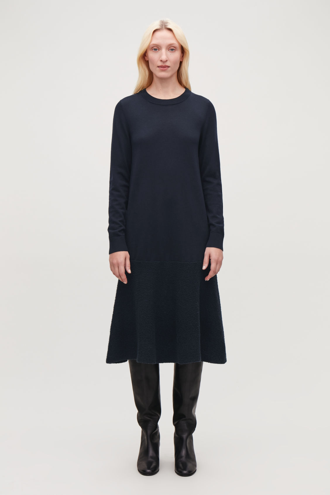 Model front image of Cos boucle-panelled merino dress in blue