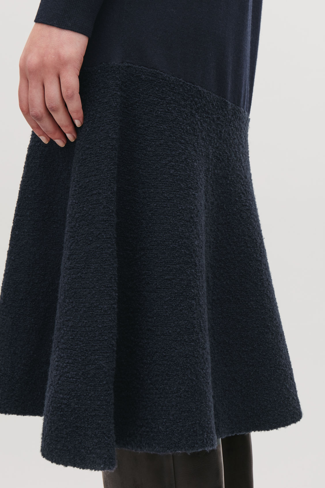 Model side image of Cos boucle-panelled merino dress in blue