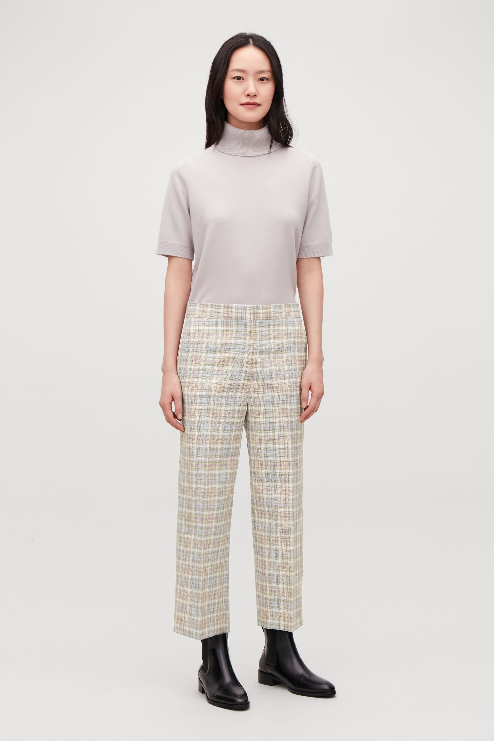 STRAIGHT-LEG CHECKED TROUSERS