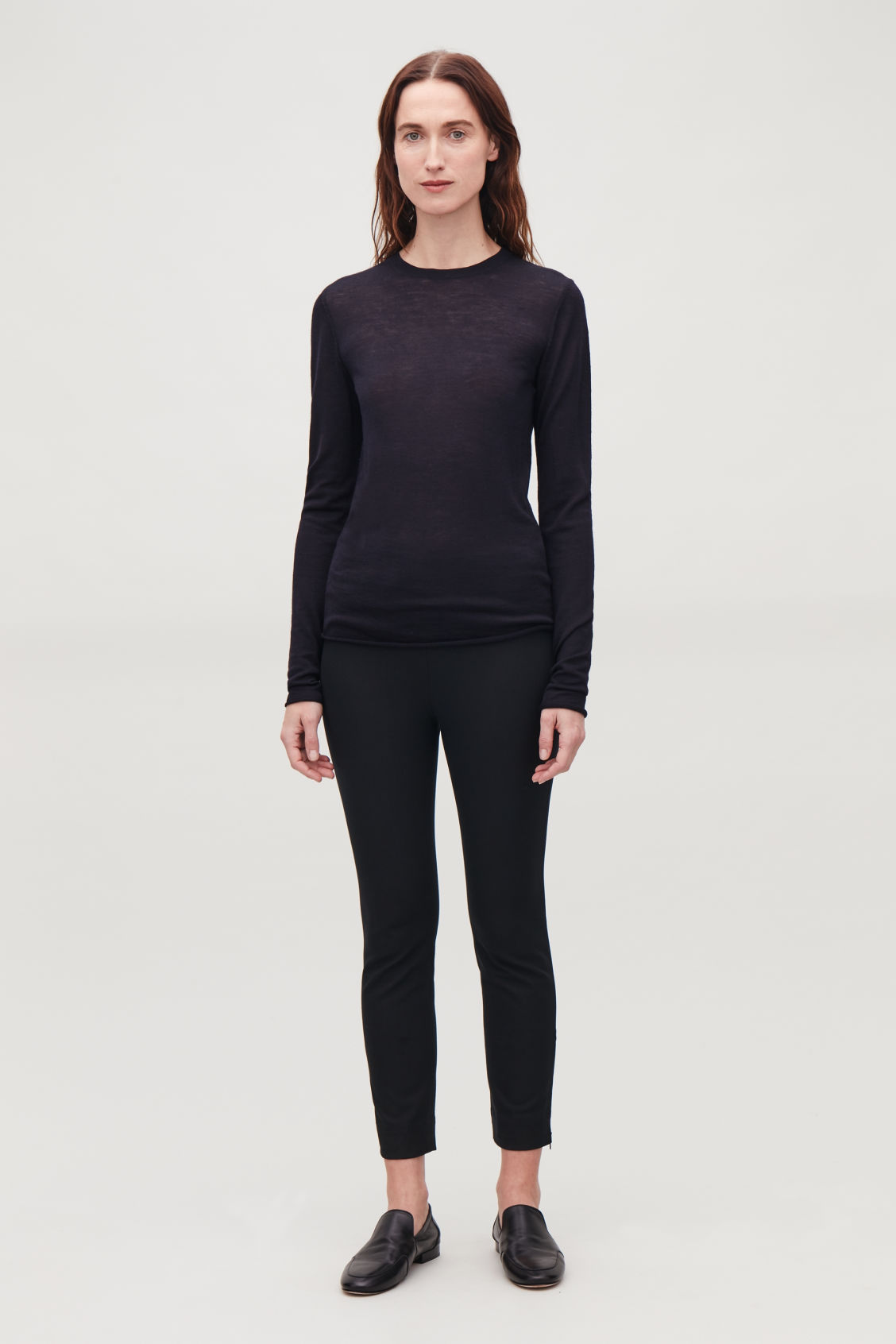 Model front image of Cos skinny legging trousers in black