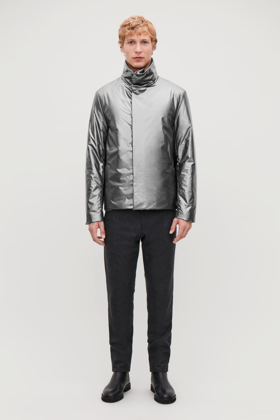 Model front image of Cos padded high-neck jacket in grey