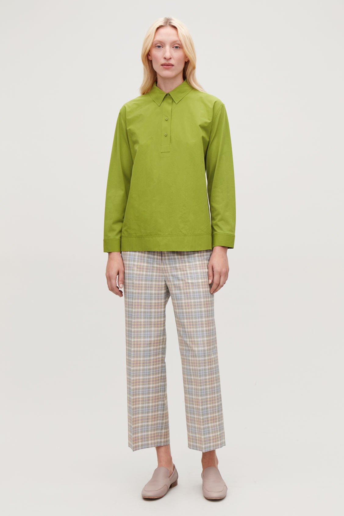 Model front image of Cos woven-jersey mix shirt in green