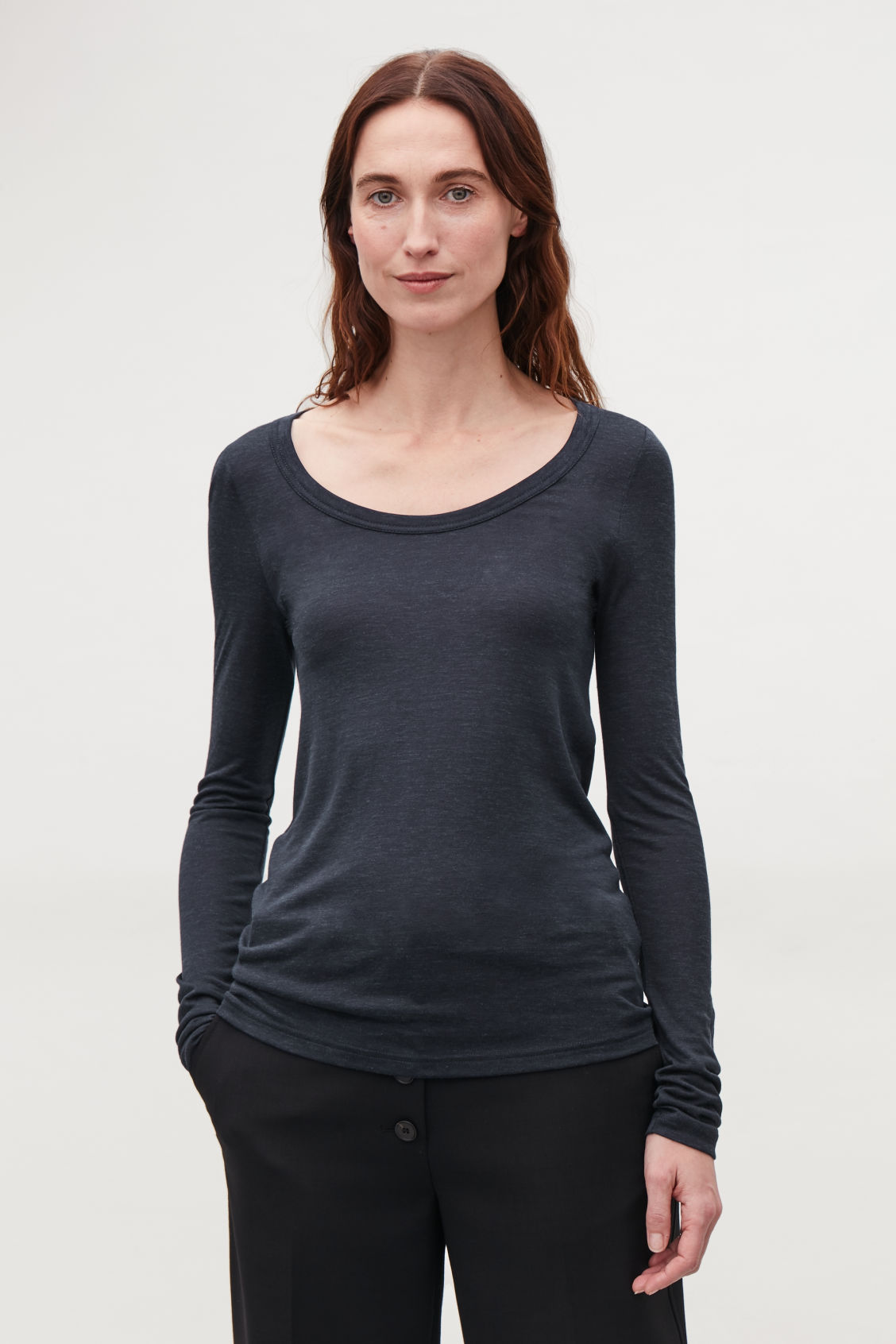 Model side image of Cos silk-linen long-sleeved top in blue