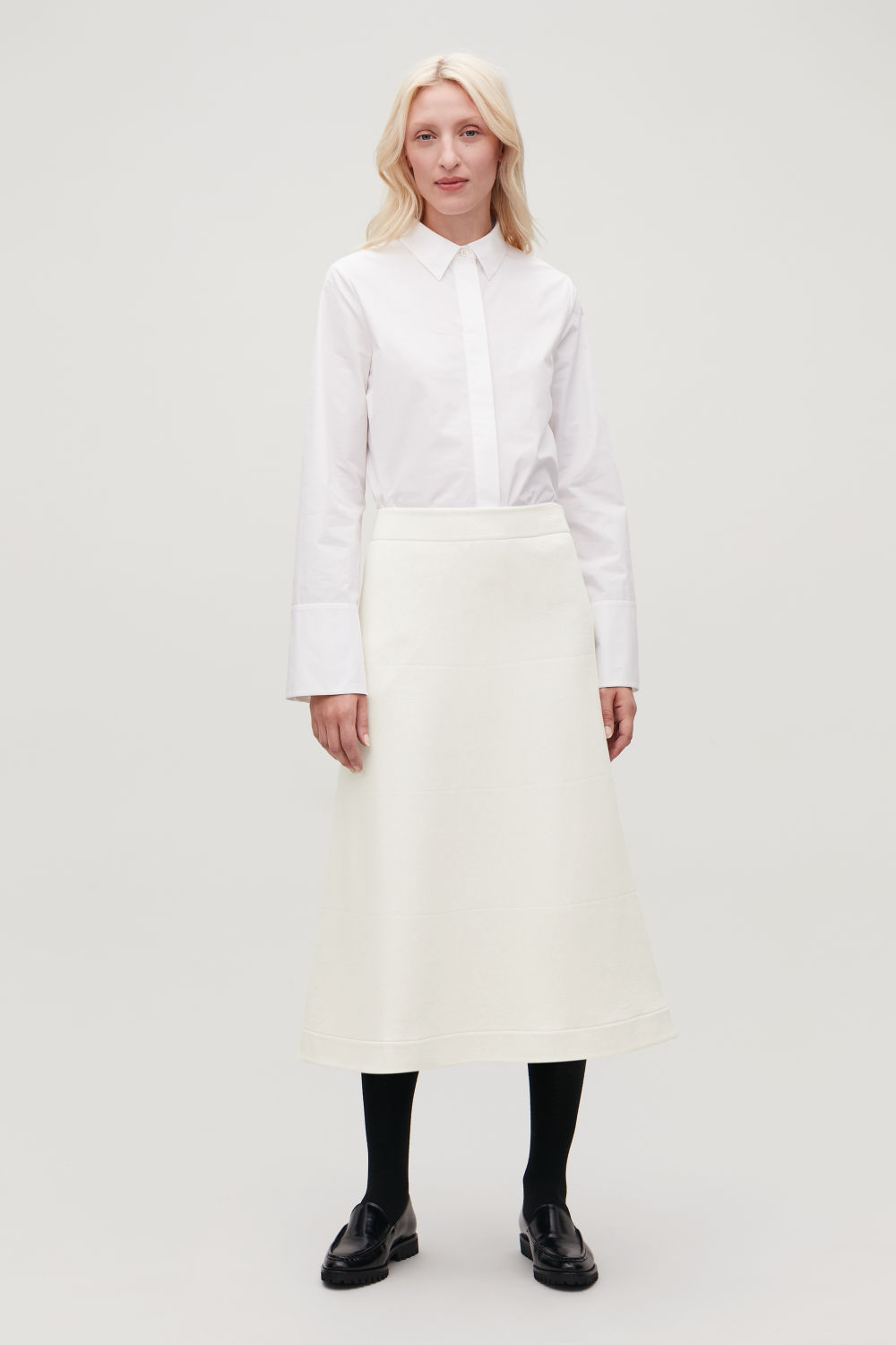 TOPSTITCHED PADDED JERSEY SKIRT