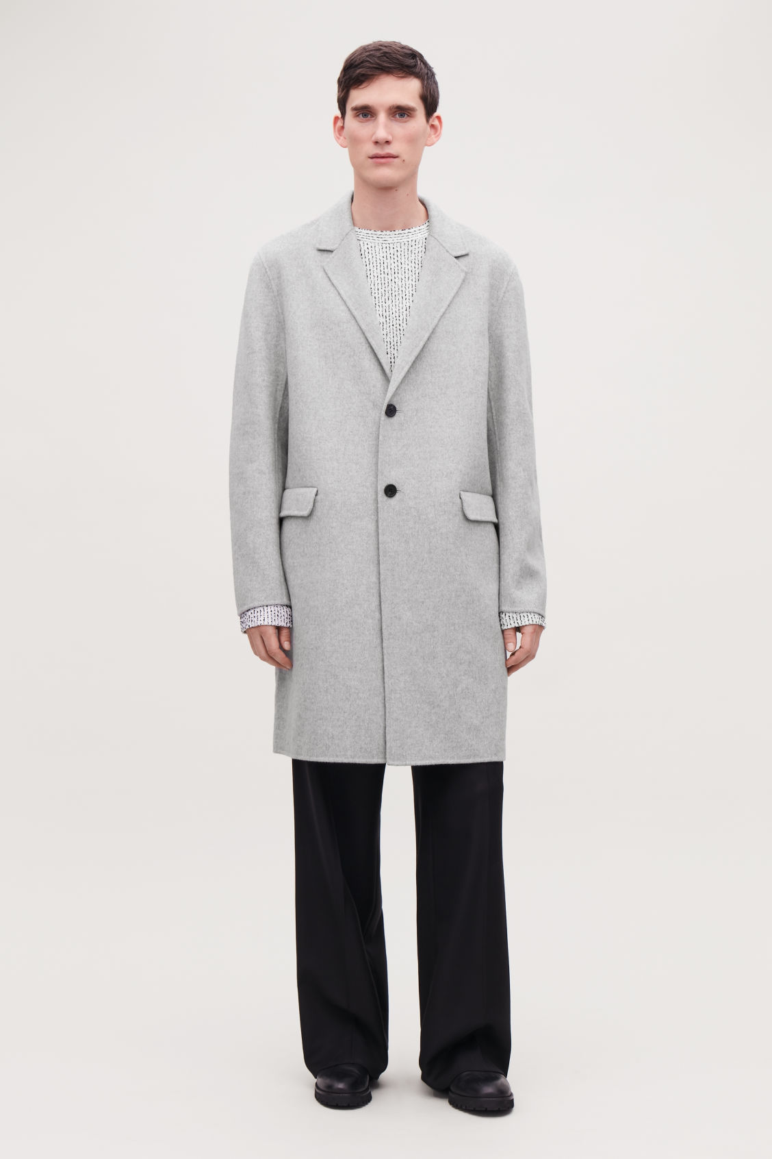 Model front image of Cos deconstructed wool coat  in grey