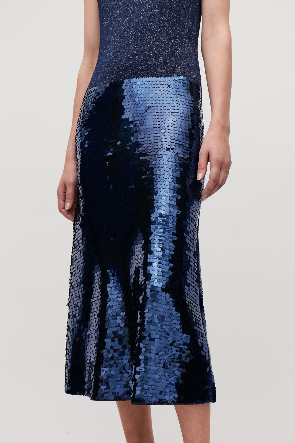 SEQUINNED METALLIC-KNIT DRESS