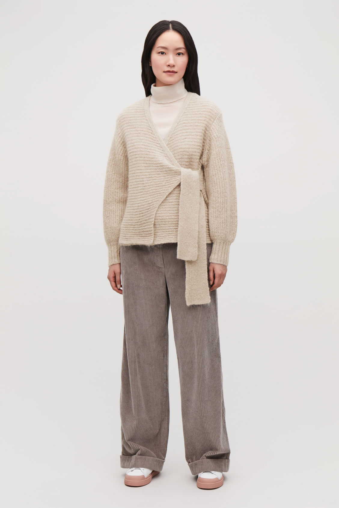 Model front image of Cos chunky wool wrap cardigan in brown