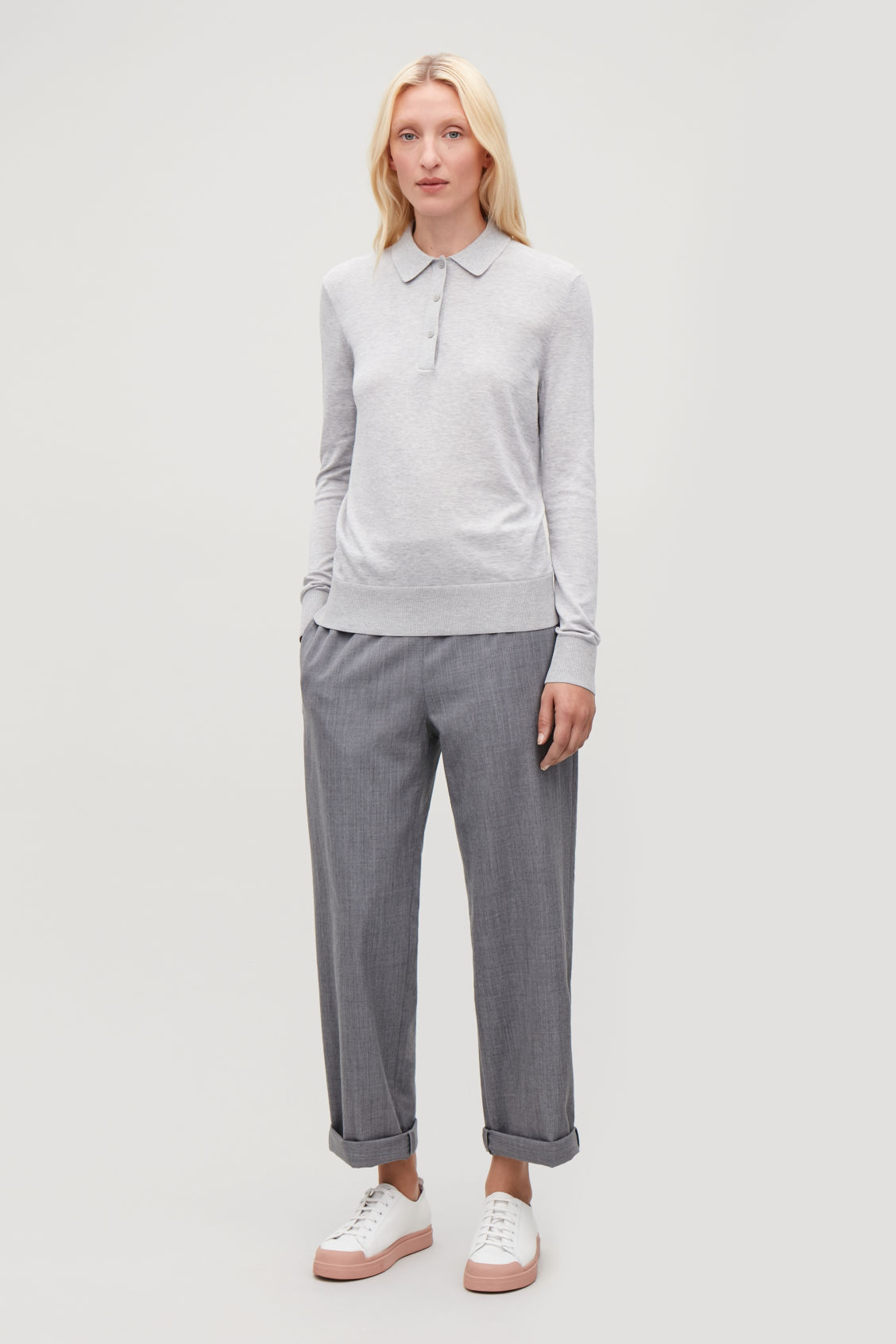 Model front image of Cos elastic-waist wool trousers in grey