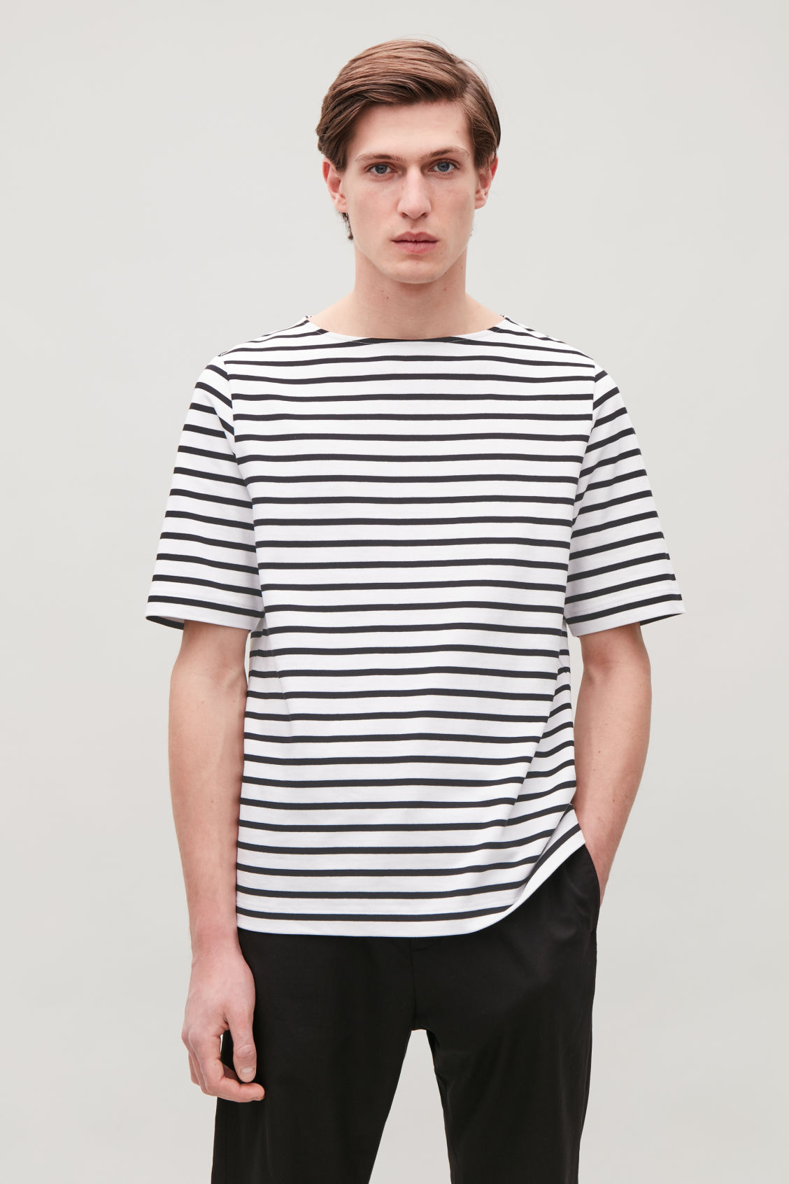 Model side image of Cos cotton breton-striped t-shirt in white