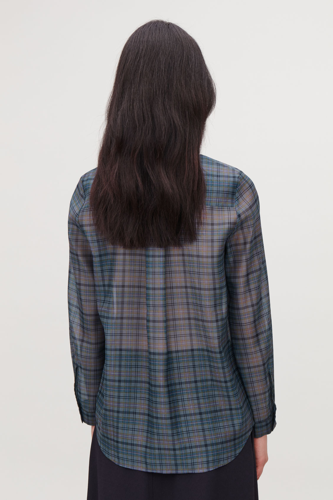 Model side image of Cos checked slim-fit shirt in blue