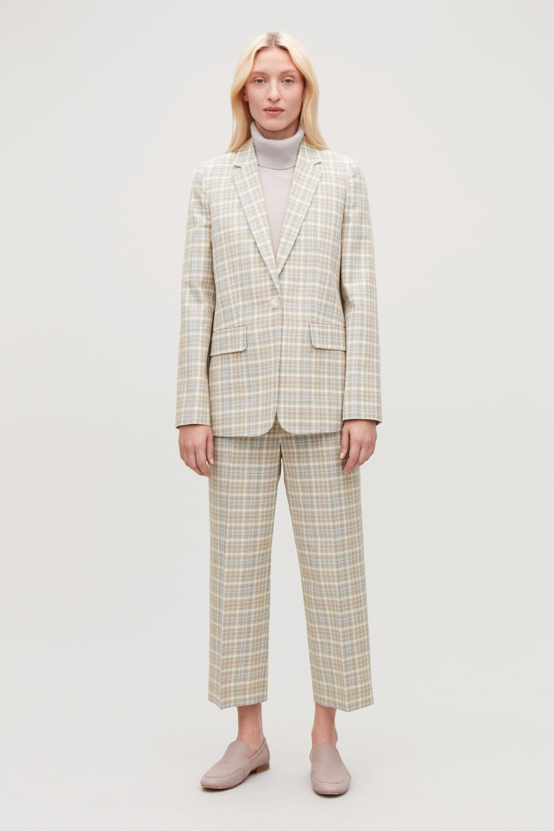 Model front image of Cos checked slim-fit blazer in beige