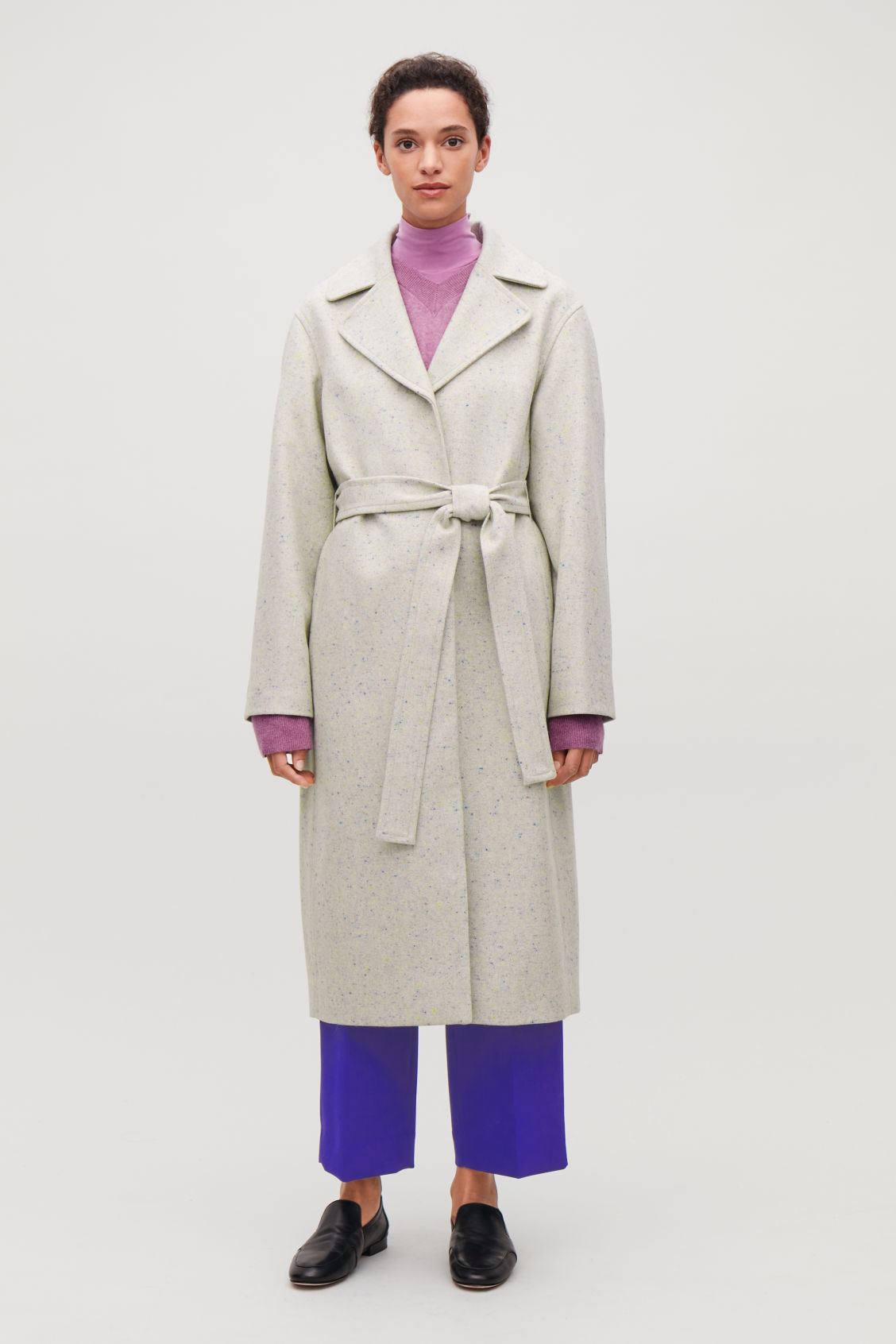Model front image of Cos speckled wool trench coat in beige