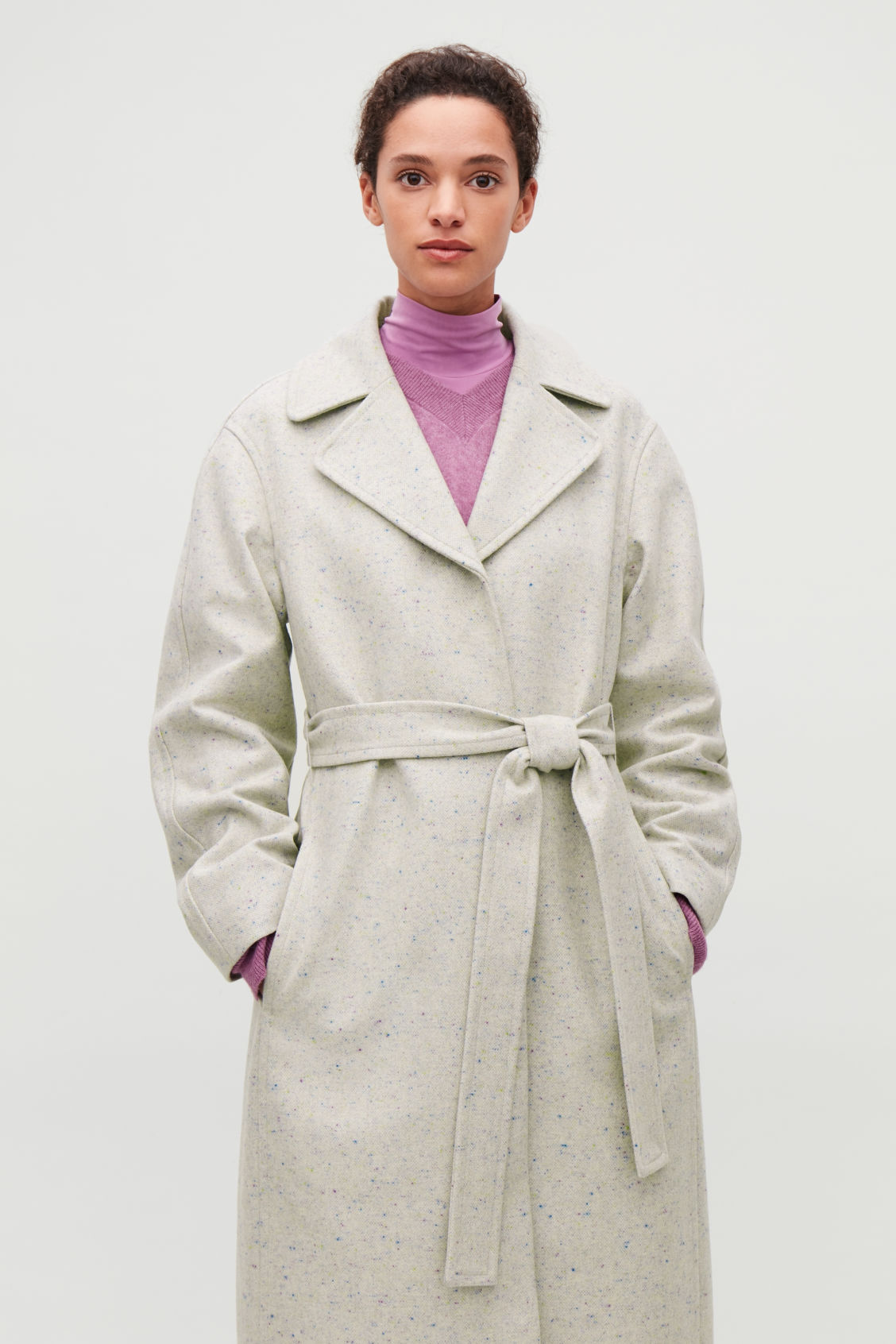 Model side image of Cos speckled wool trench coat in beige