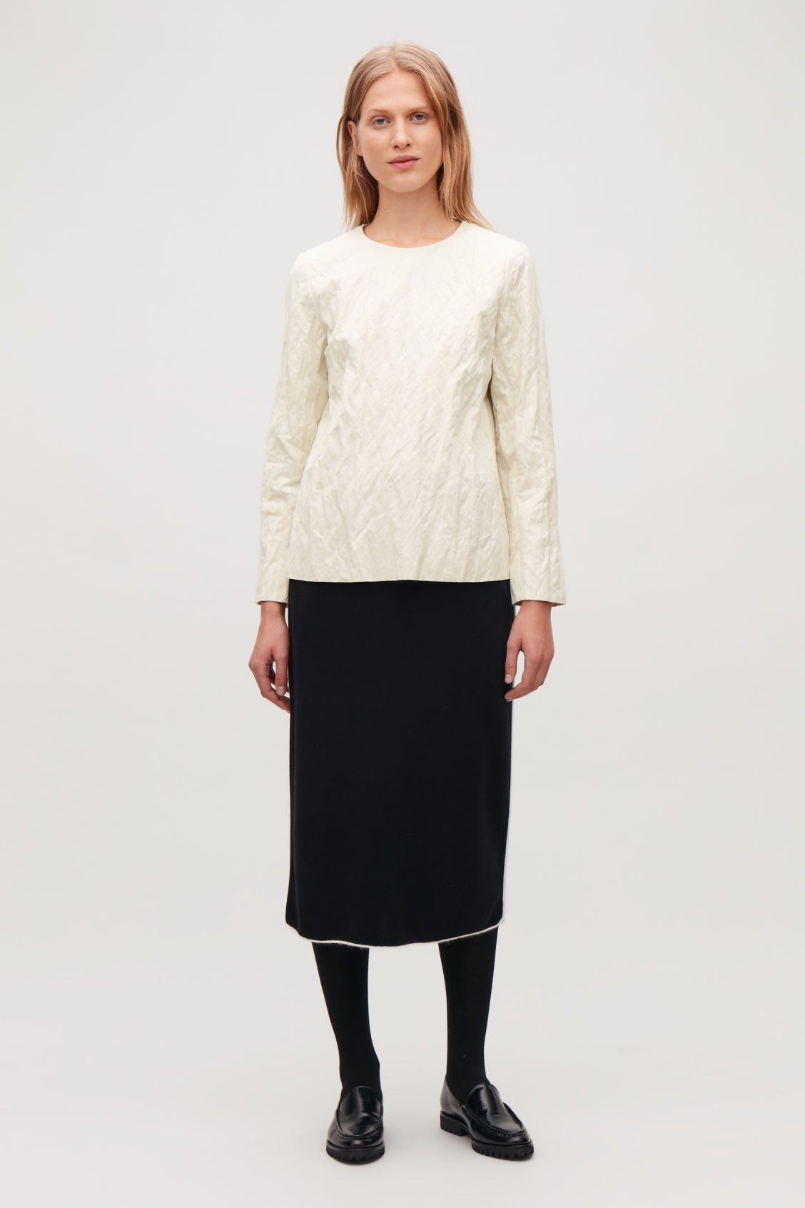 Model front image of Cos crushed long-sleeved top in white