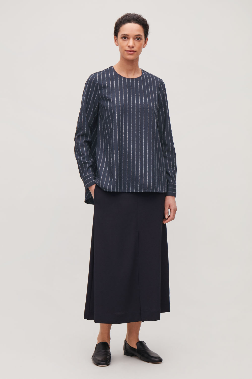 BOUCLE-PINSTRIPED WOOL BLOUSE