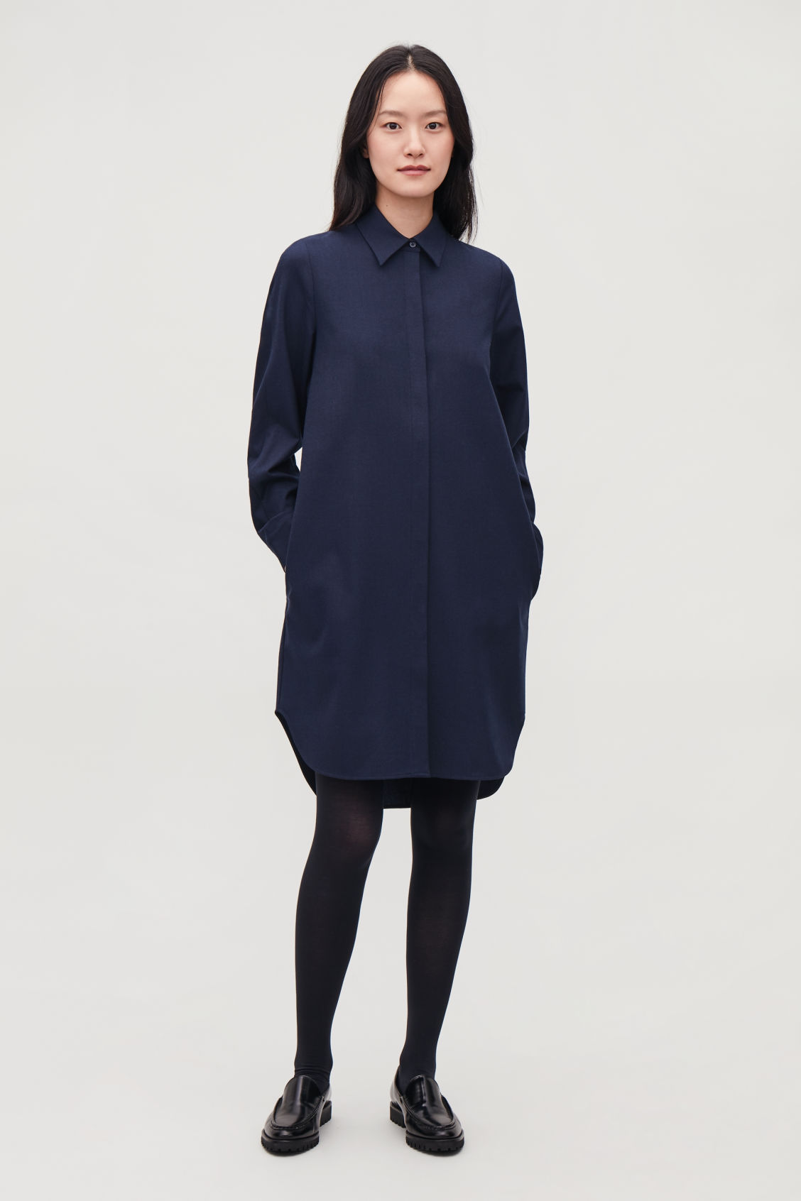 Model front image of Cos wool shirt dress in blue