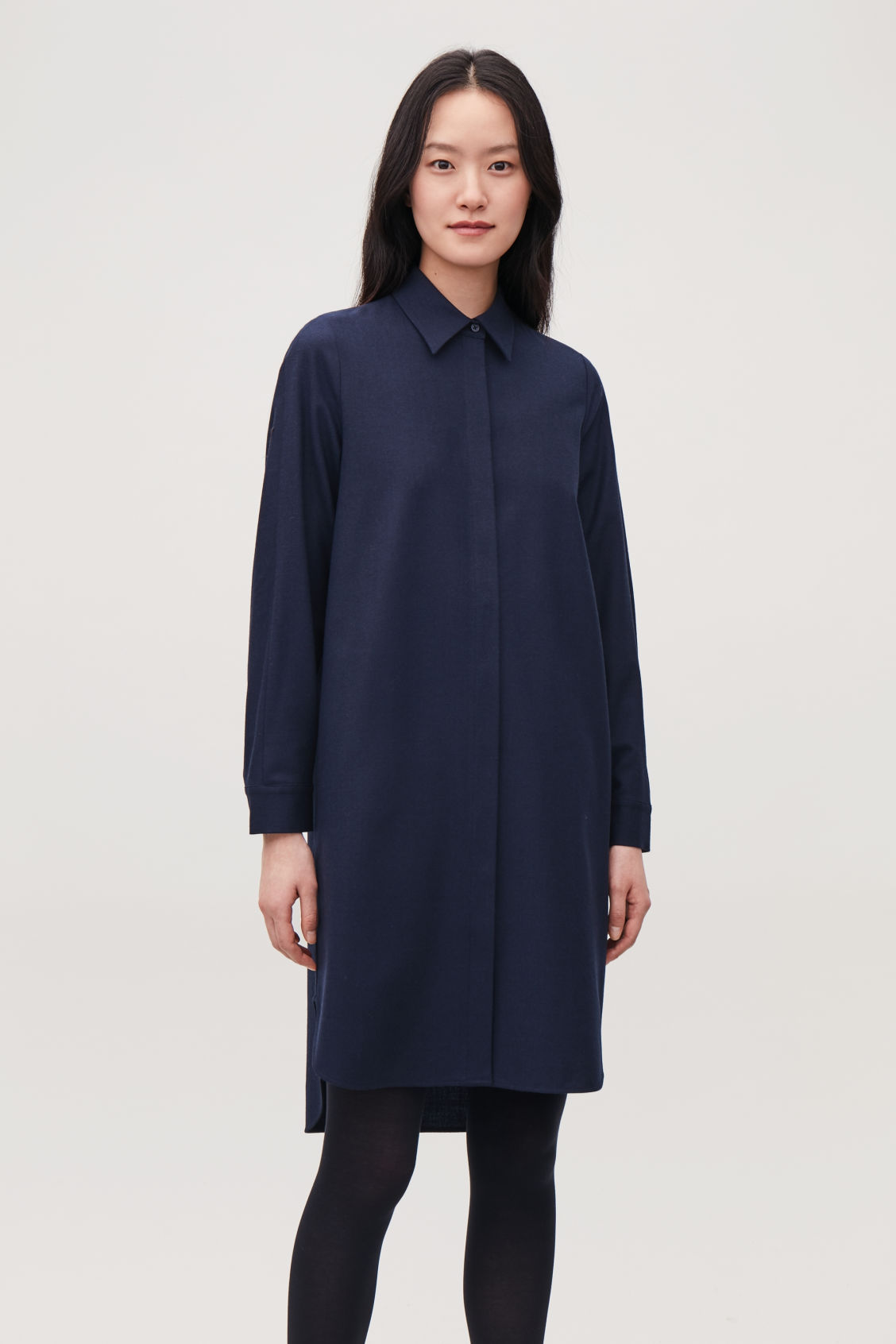 Model side image of Cos wool shirt dress in blue