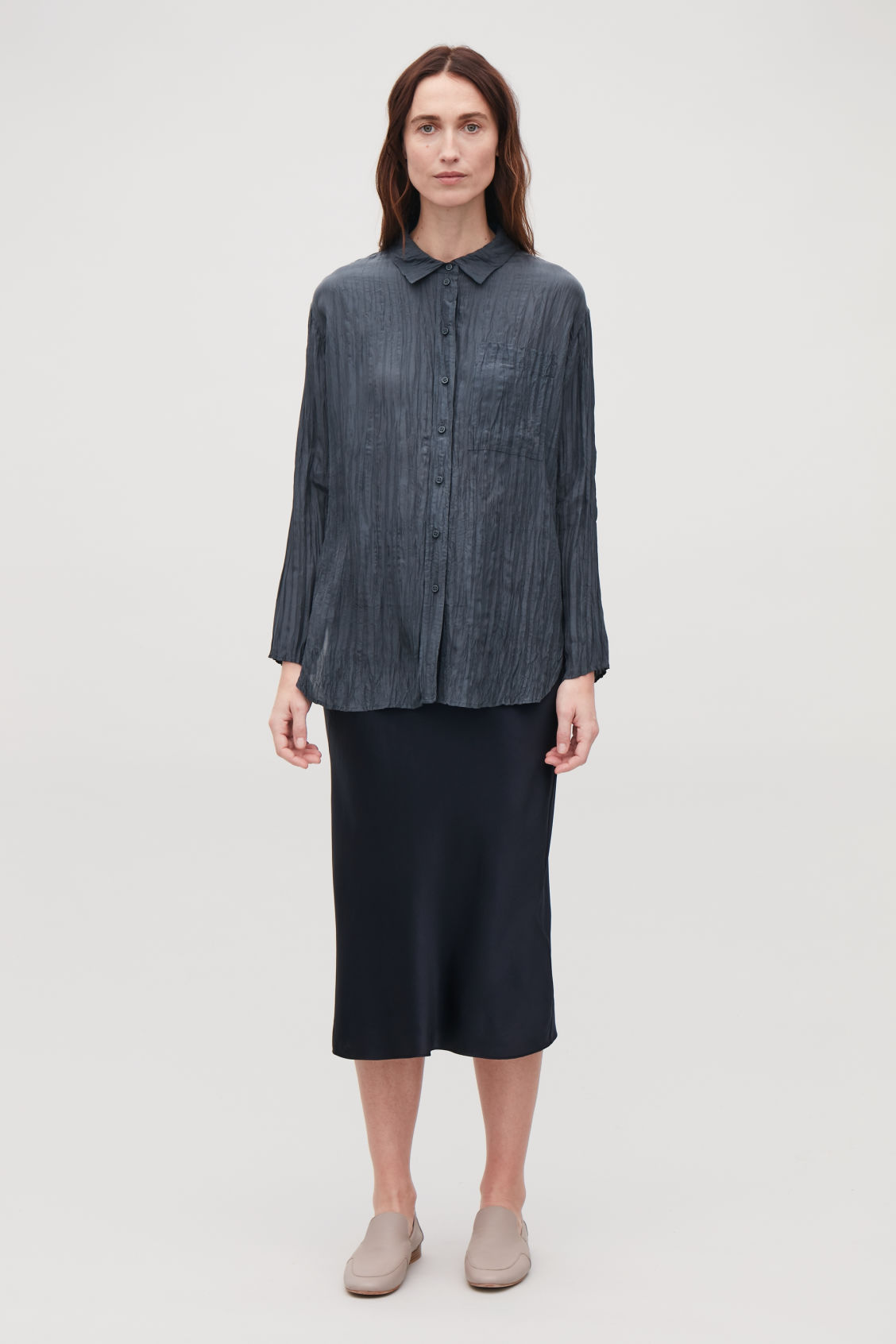 Model front image of Cos crinkled silk shirt in blue