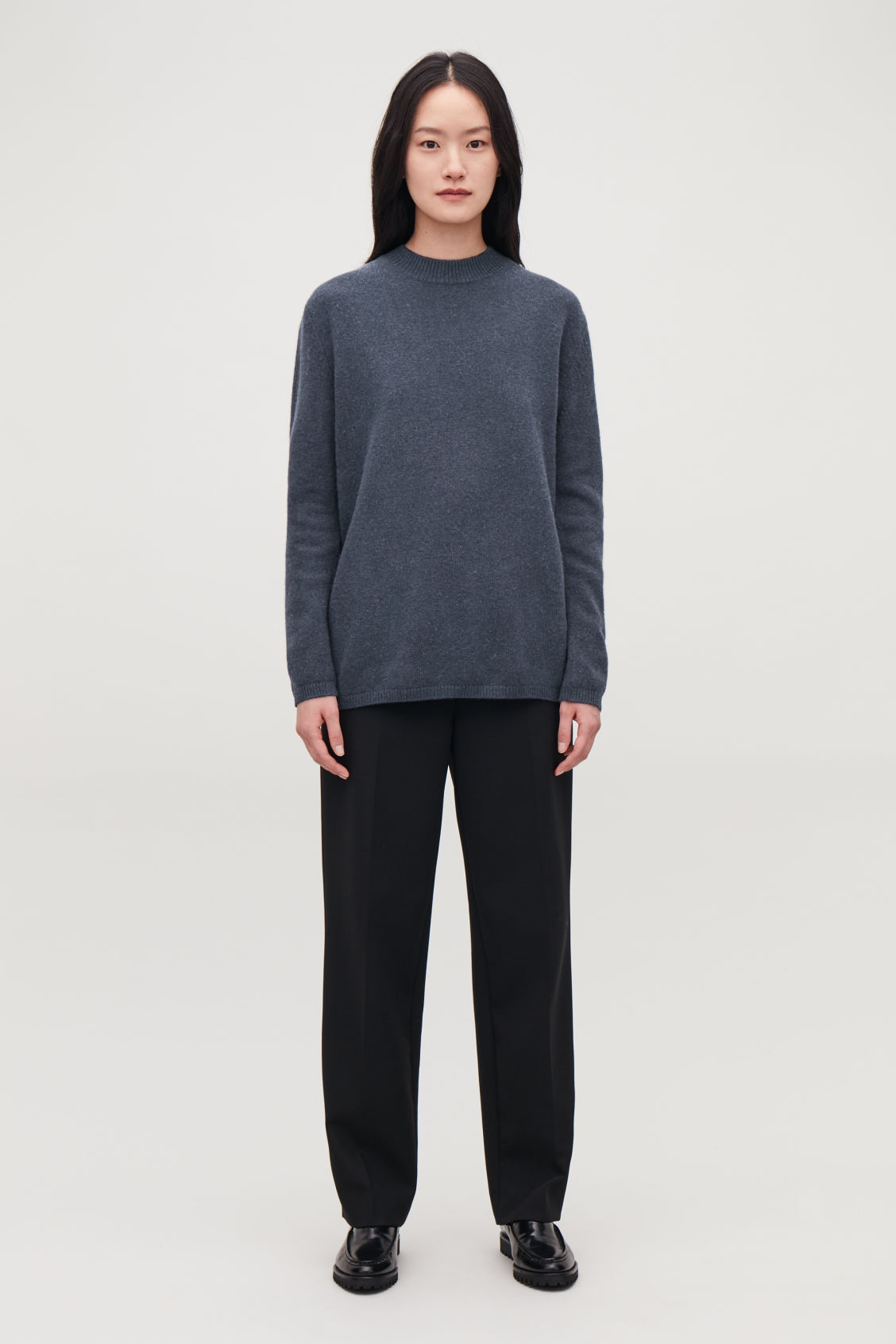 Model front image of Cos wrap-over lambswool jumper in blue