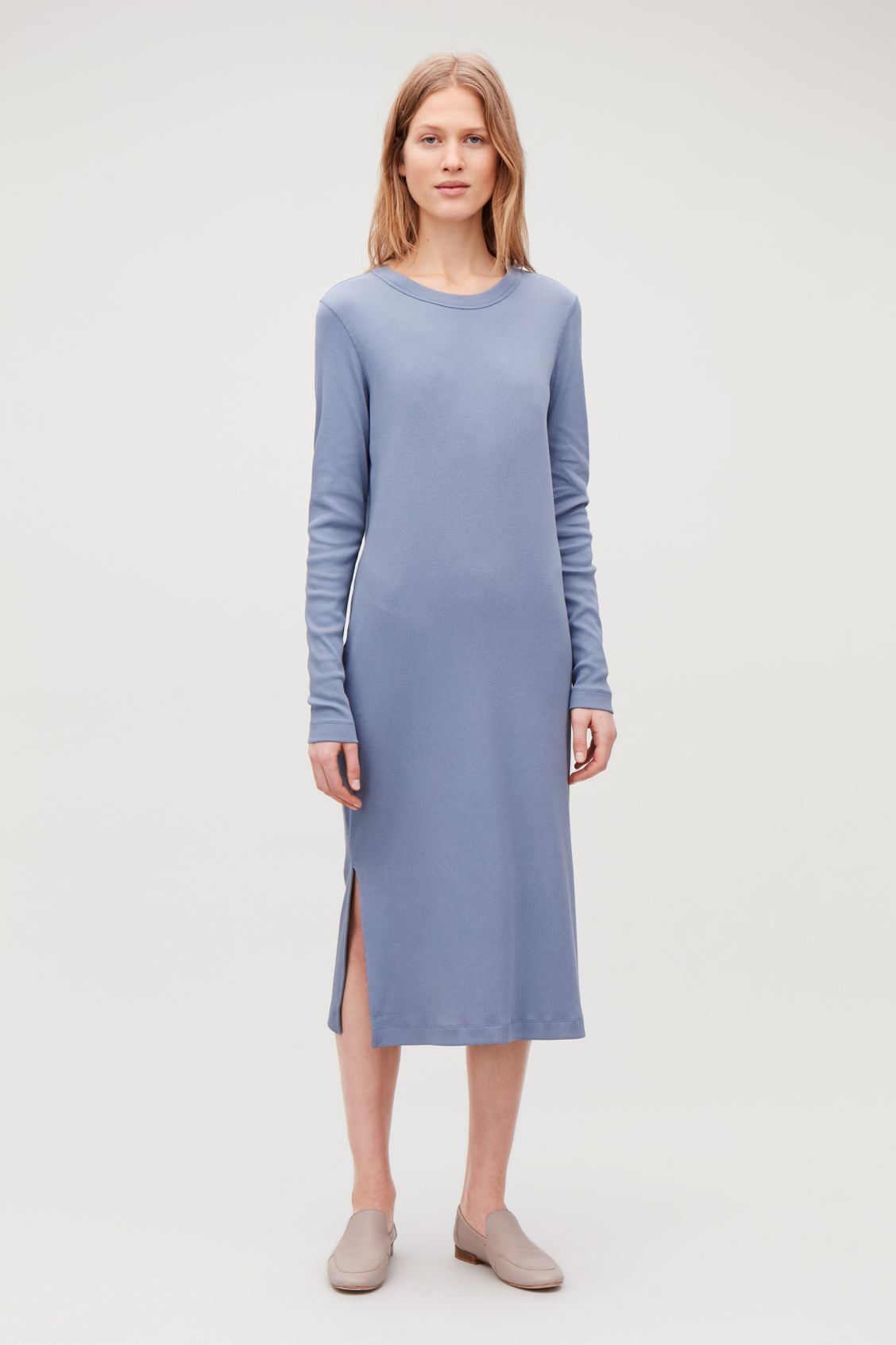 Model front image of Cos ribbed strech-cotton jersey dress in blue