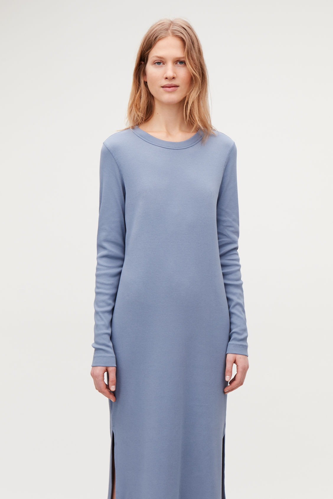 Model side image of Cos ribbed strech-cotton jersey dress in blue