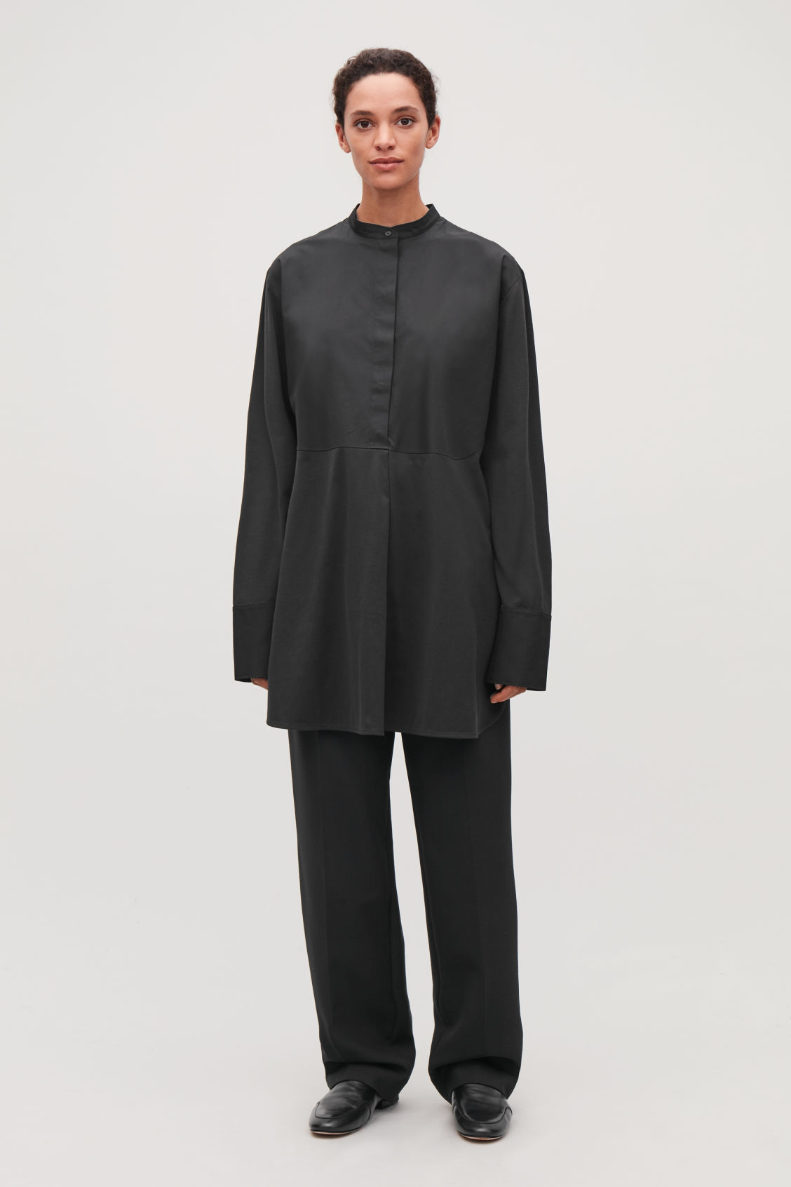Model front image of Cos long woven-jersey mix shirt in black