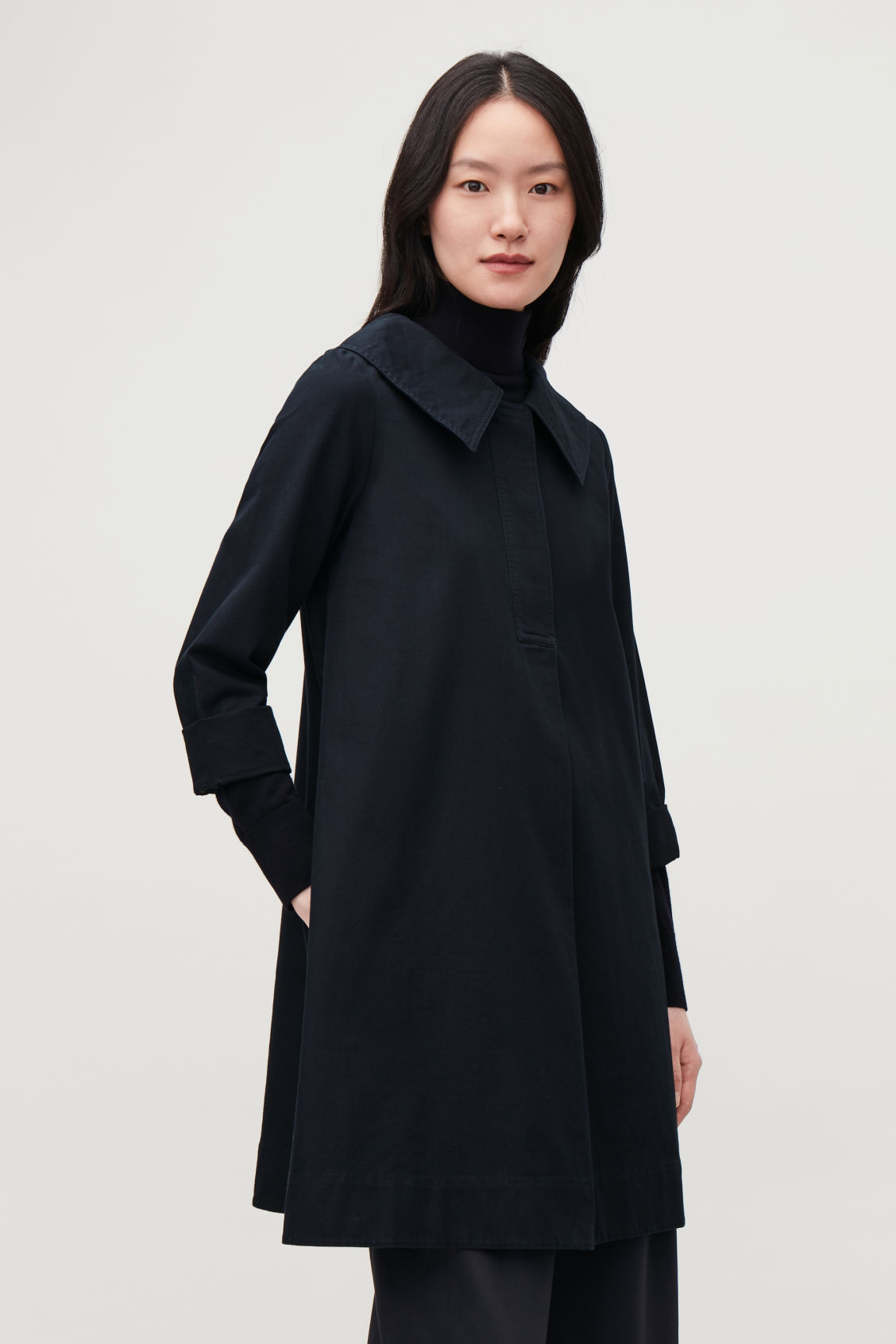 Model side image of Cos oversized-collar cotton dress in blue