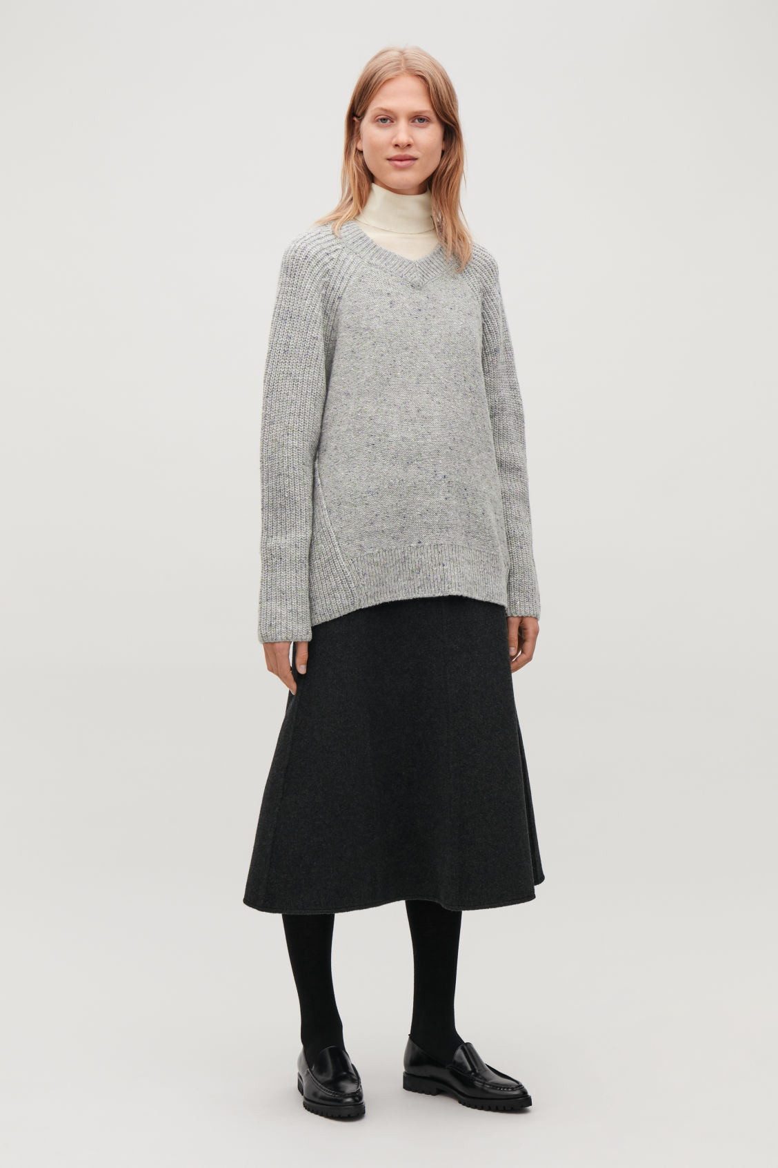 Model front image of Cos oversized wool-knit jumper in grey