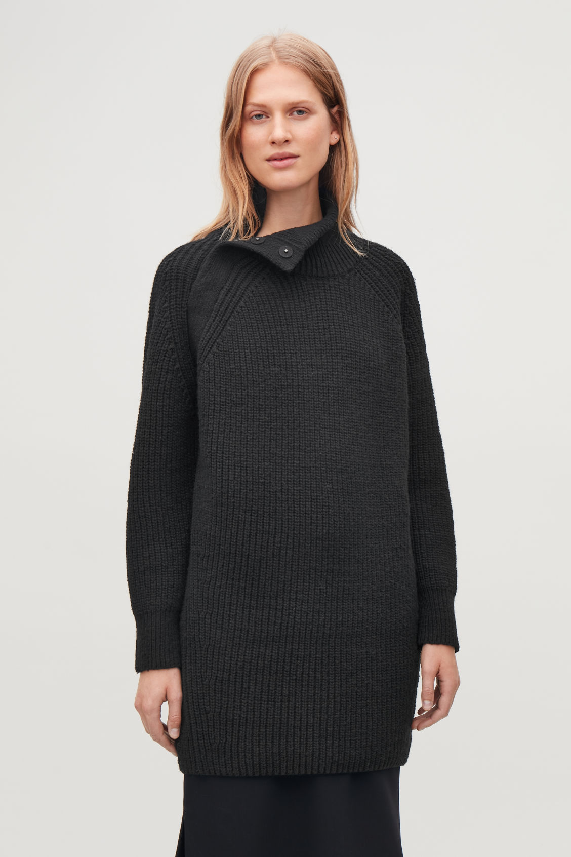 Model side image of Cos oversized wool-knit dress in blue