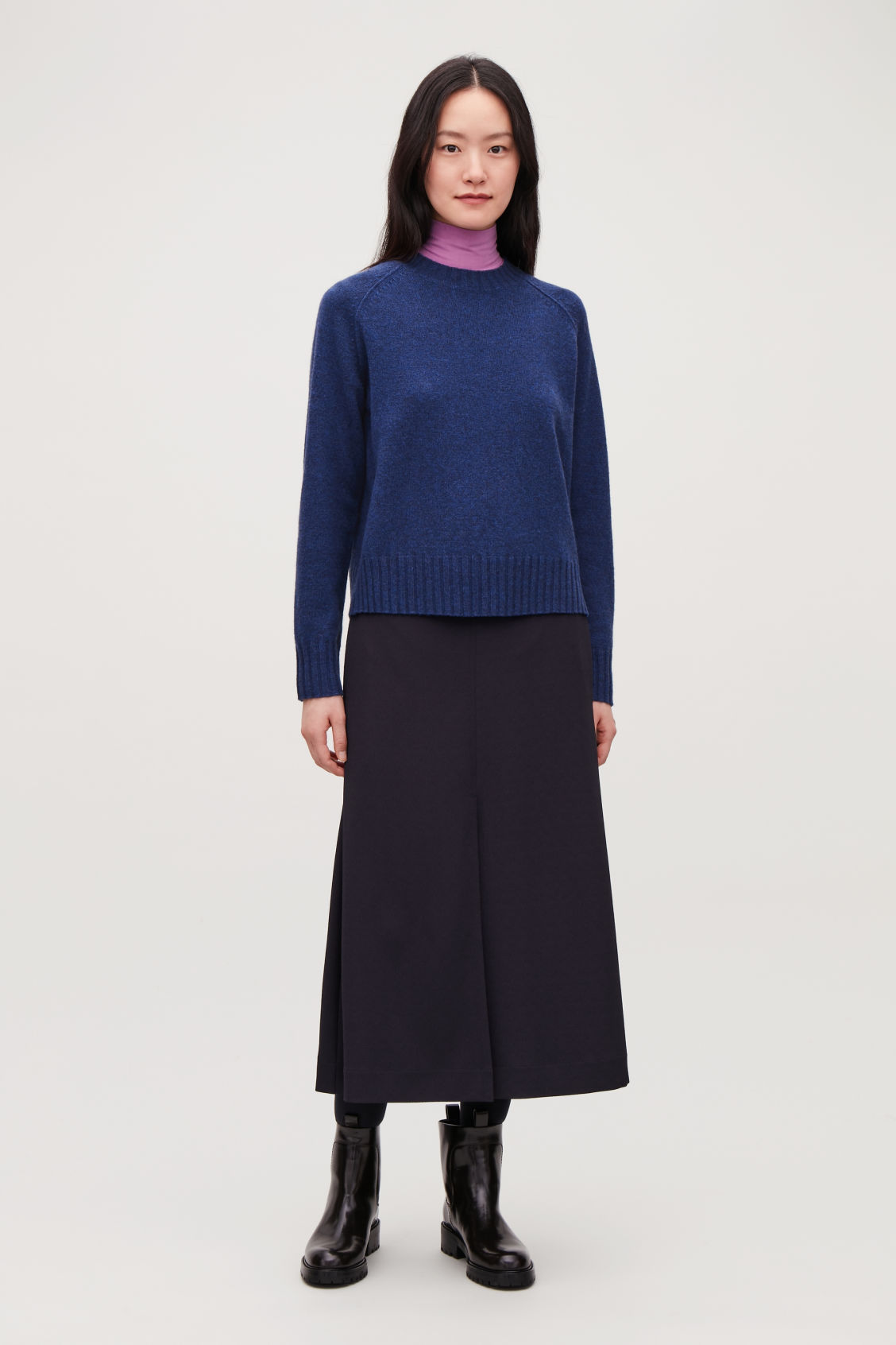 Model front image of Cos wool-yak hair knit jumper in blue
