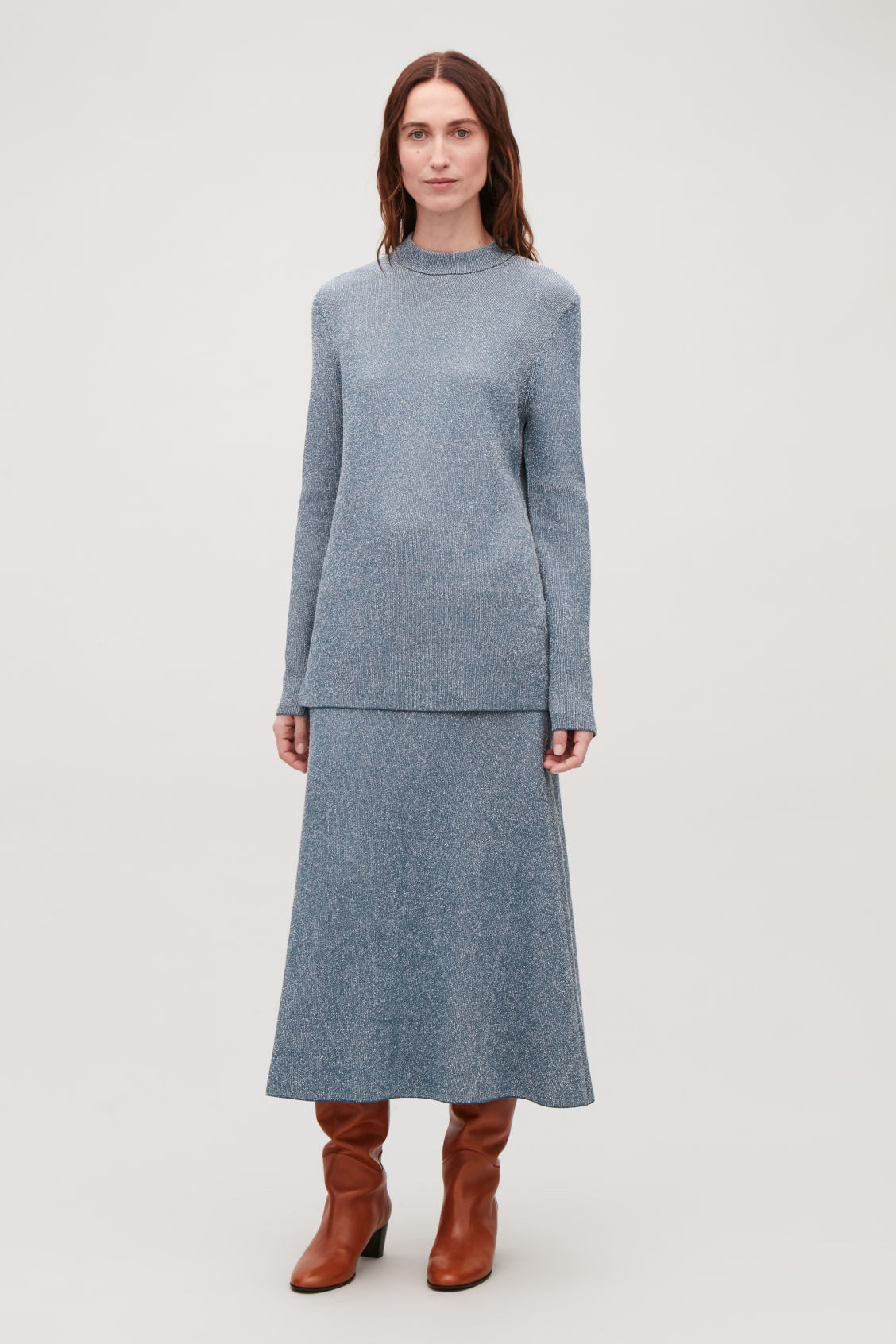 Model front image of Cos drop-needle stitch knit jumper in blue