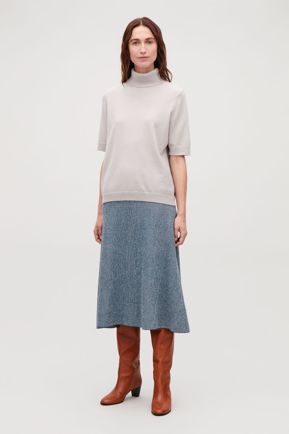 DROP-NEEDLE STITCH KNIT SKIRT