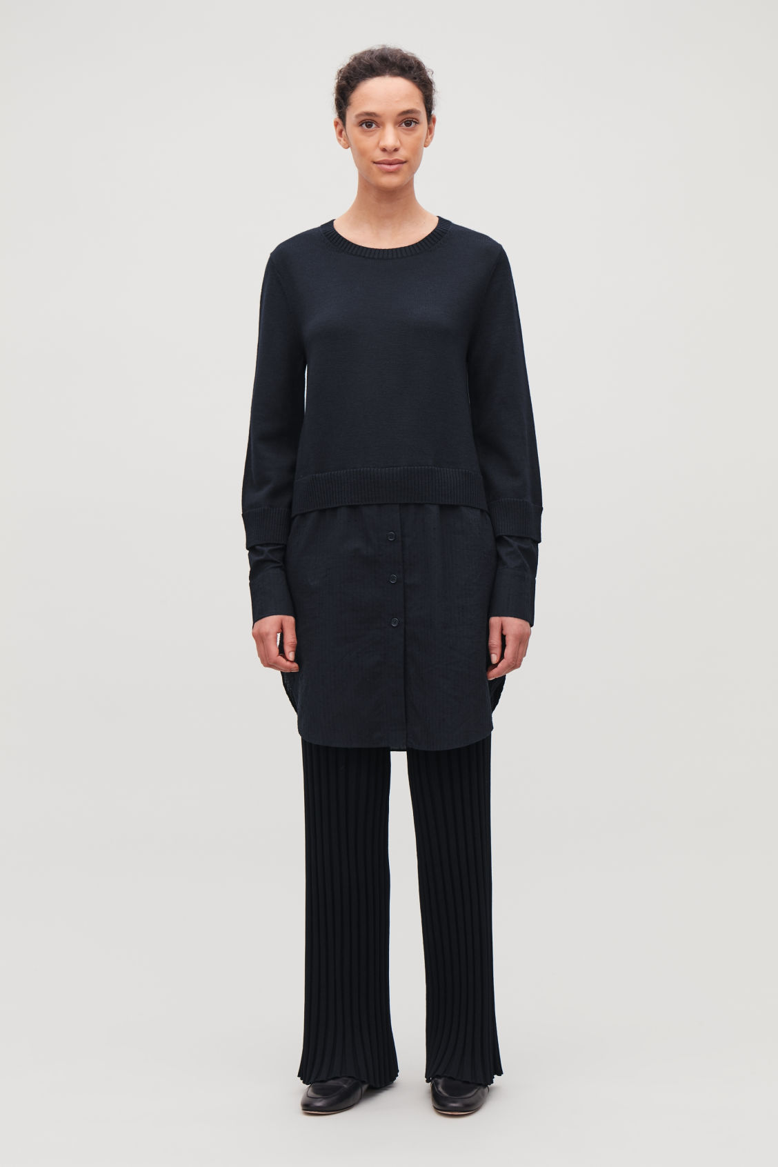 Model front image of Cos shirt-layered wool knit tunic in blue