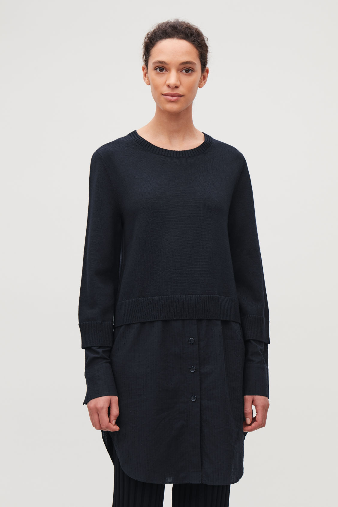 Model side image of Cos shirt-layered wool knit tunic in blue