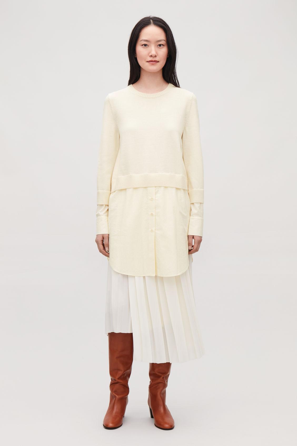 Shirt Layered Wool Knit Tunic Ivory Knitwear Cos