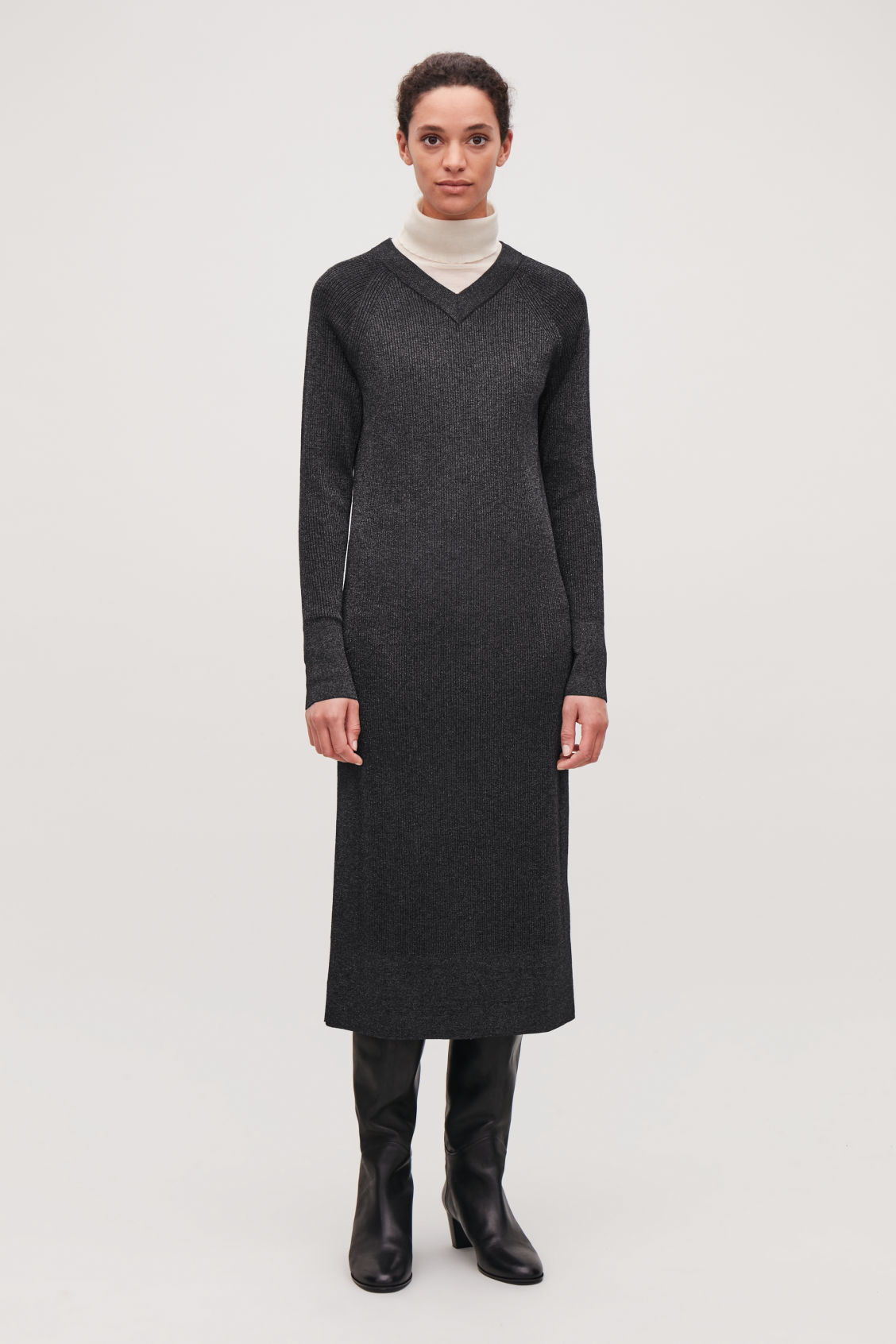 Model front image of Cos mix-rib knitted dress in blue