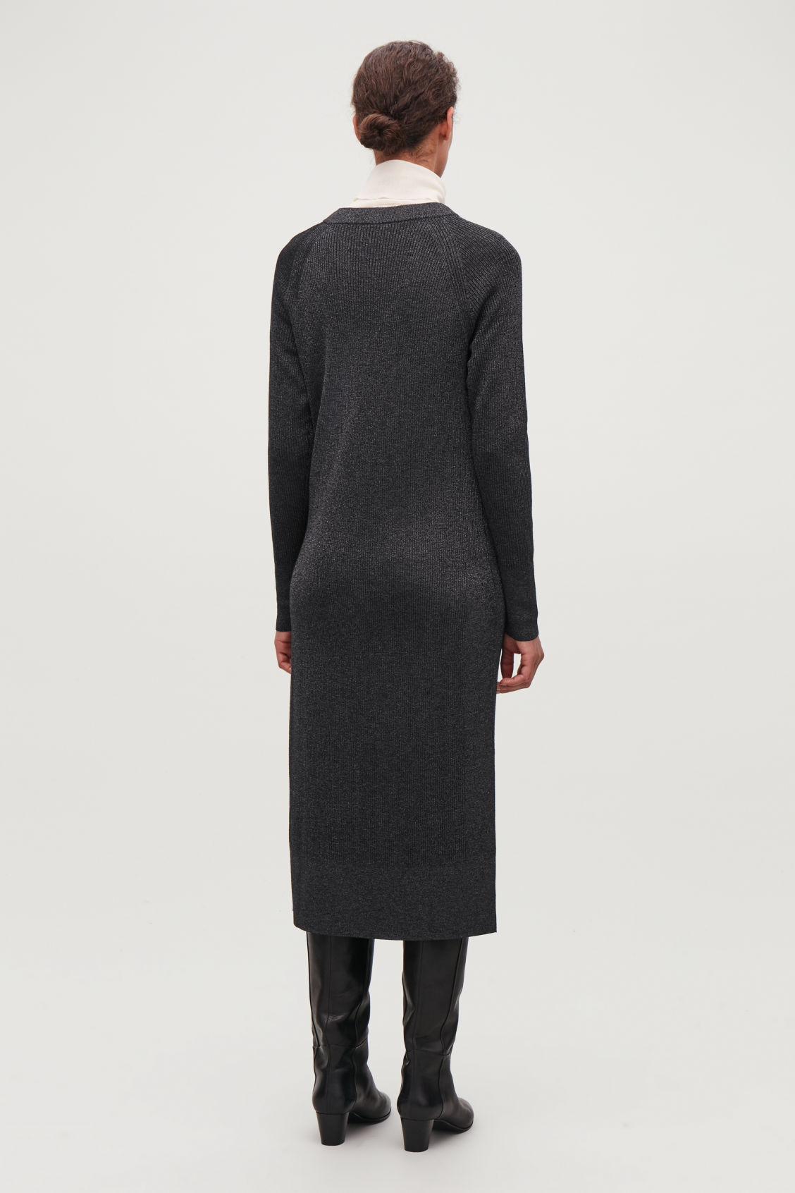 Model side image of Cos mix-rib knitted dress in blue