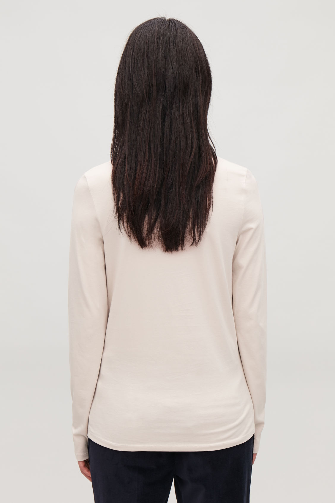 Model side image of Cos long-sleeved cotton top in brown