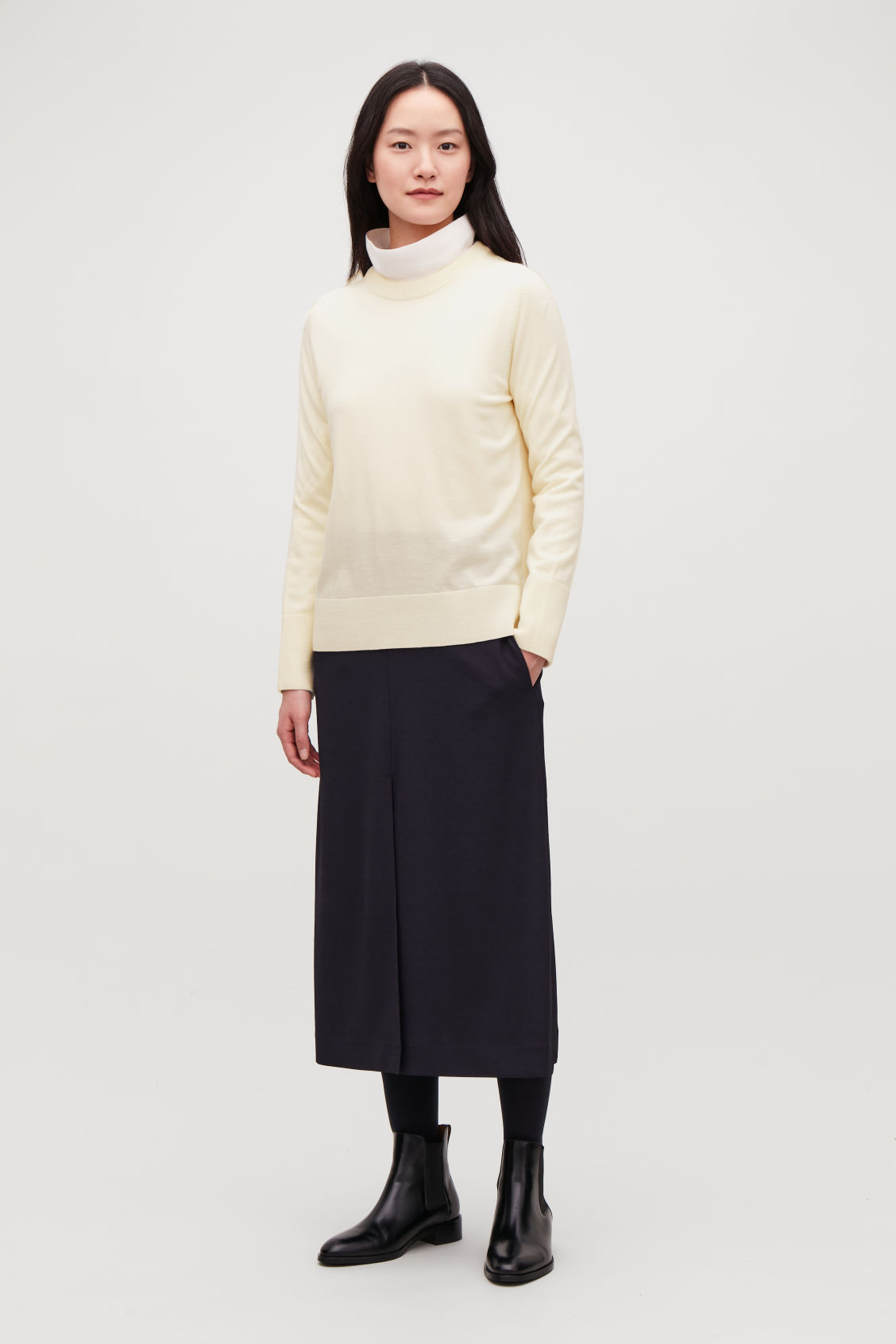 Model front image of Cos mix-stitch merino jumper in white