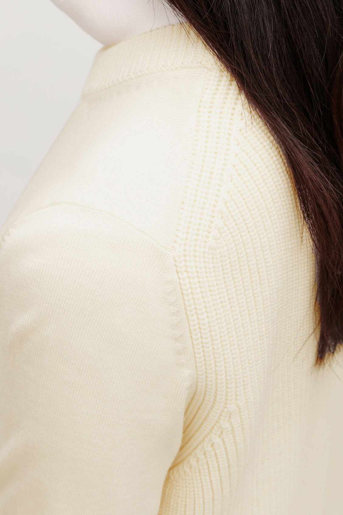 Model side image of Cos mix-stitch merino jumper in white