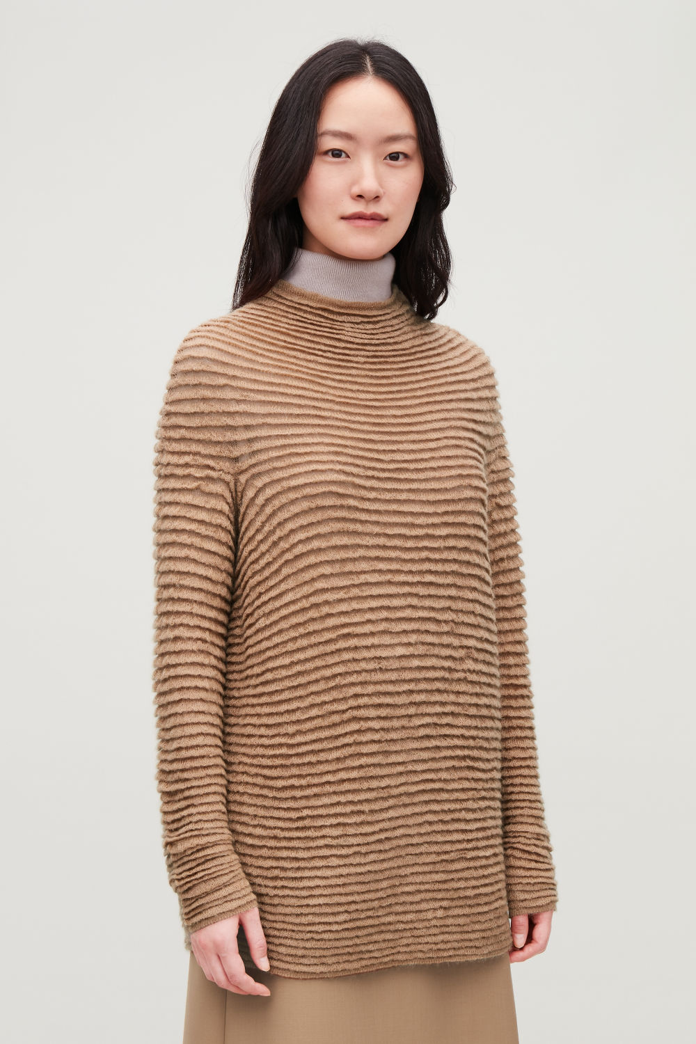 RIPPLE-STITCHED WOOL JUMPER