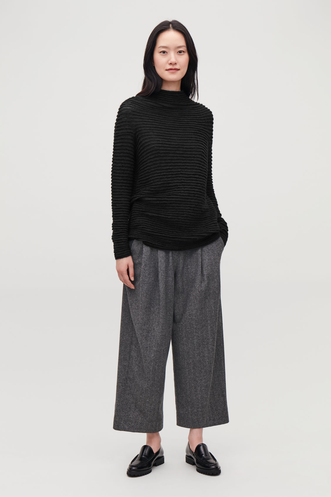 Model front image of Cos ripple-stitched mochair jumper  in black