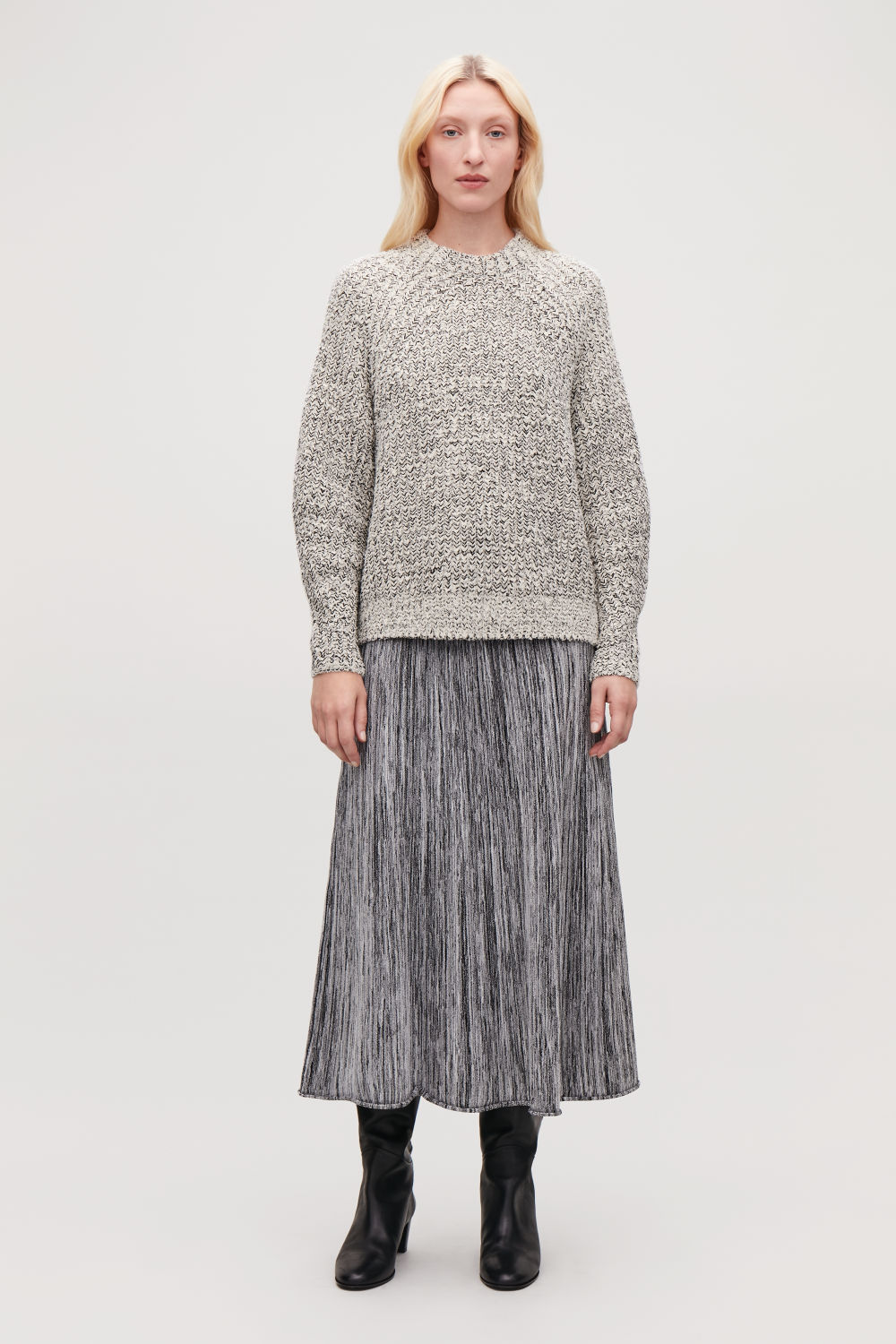 HALF-CARDIGAN KNIT JUMPER