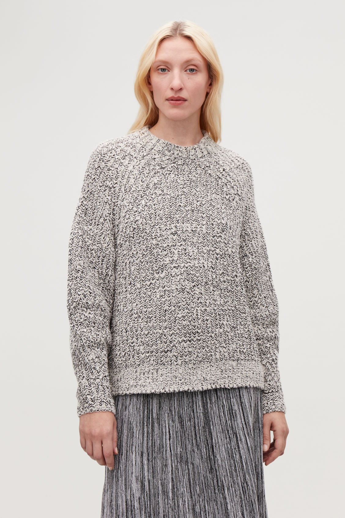 Model side image of Cos half cardigan knit jumper in white