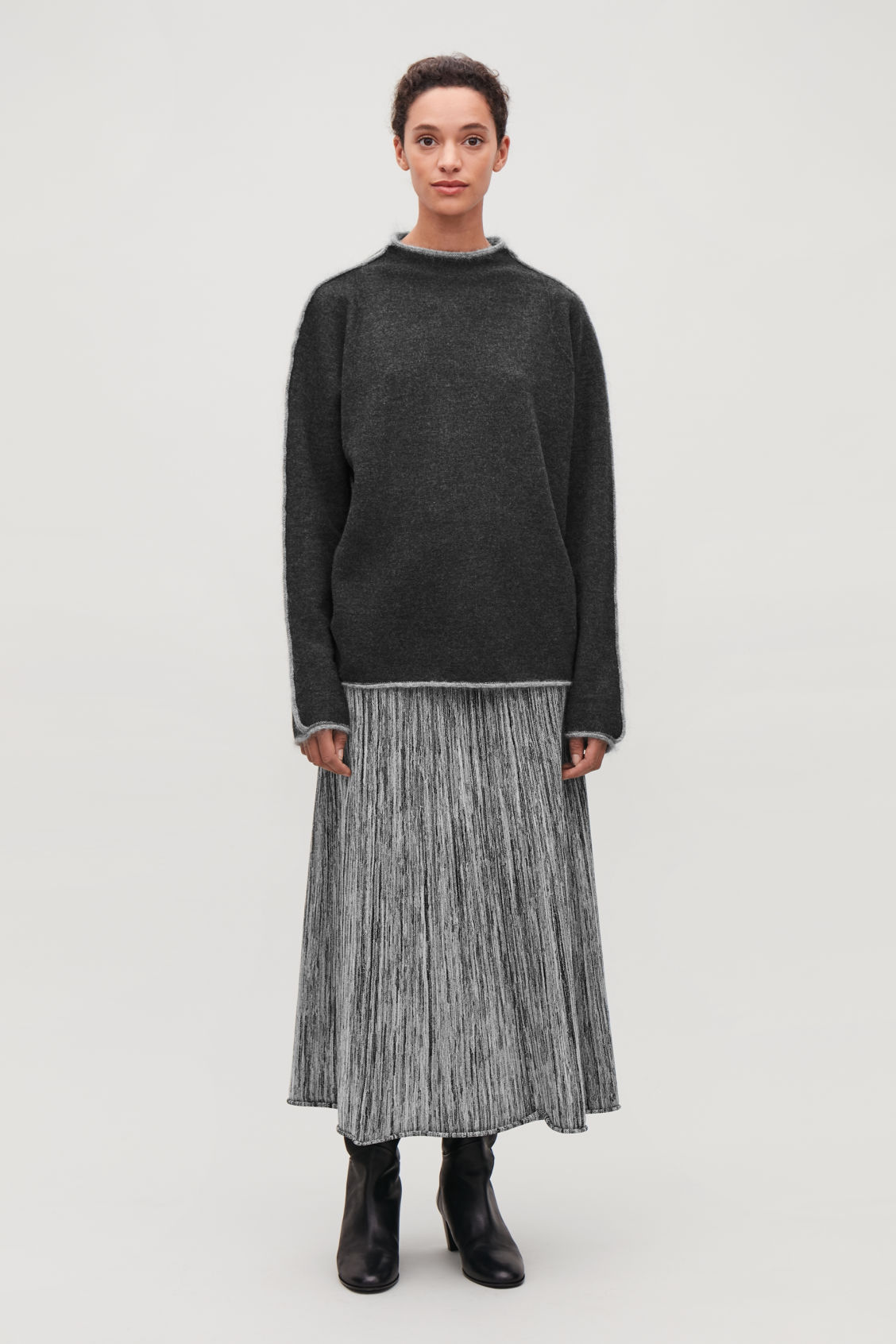 Model front image of Cos trimmed boiled-wool jumper  in grey