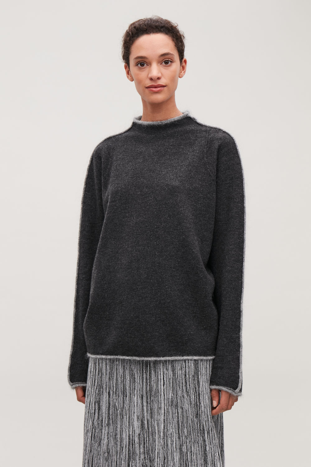 TRIMMED BOILED-WOOL JUMPER