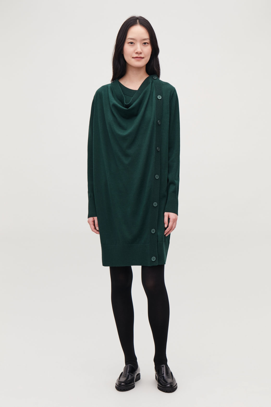 Model front image of Cos button-up merino wool dress in green