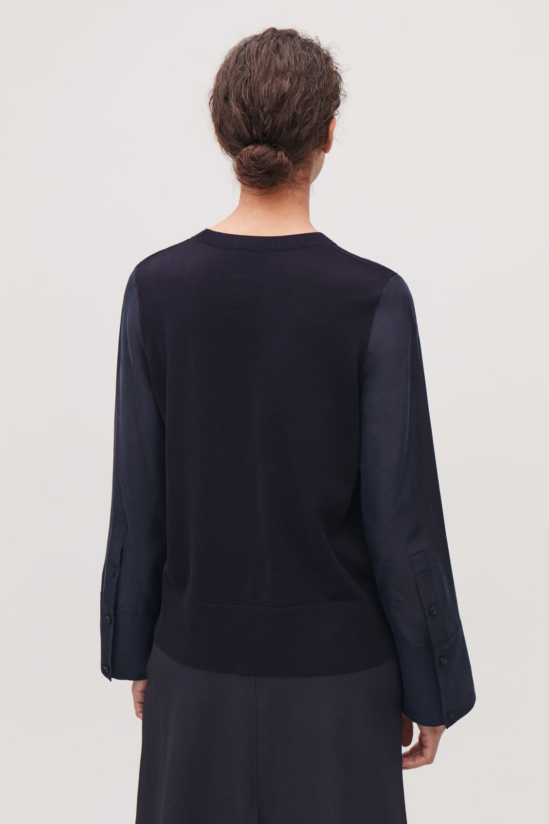 Model side image of Cos silk-sleeved cotton-knit top in blue